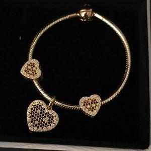 Pandora 18k gold plated honeycomb bracelet charms